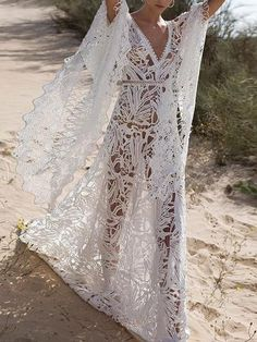 Lace Hollow Flared Sleeves Bohemia Wedding Dress – linenwe style maxi dress maxi skirts outfits maxi dress outfits styling a maxi dress Evening Dresses With Sleeves, Maxi Dress With Sleeves, Maxi Dresses, Fashion Dresses, Maxi Skirts, Floral Dresses, Dress Lace, Dress Outfits, Nice Dresses
