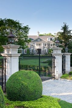 """The incomparable """"Stone Mansion"""" estate, located at 18 Frick Drive in Alpine, NJ, has been re-listed yet again. Luxury Estate, Luxury Homes, Luxury Lifestyle, Luxury Cars, Mansion Homes, Stone Mansion, Mega Mansions, Entrance Gates, Garden Gates"""