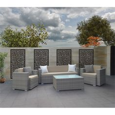 Along the sides of the brick walls with highlighted lighting. Matrix 1800 x 900 x Charcoal Riverbank Décor Screen Panel Outdoor Rooms, Outdoor Walls, Outdoor Furniture Sets, Outdoor Decor, Terrace Design, Patio Design, House Design, Jardin Vertical Artificial, Patio Wall Decor