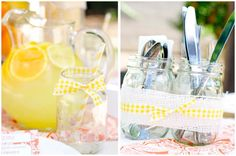 Another use for mason jars - cute silverware display :)