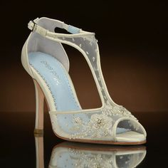 Paloma by Bella Belle at My Glass Slipper.  Elegant retro inspired T-strap wedding shoes with delicated beading. www.MyGlassSlipper.com
