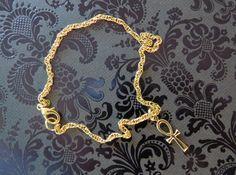 Cleopatra Ankh Egyptian Eternal Cross Anklet Ankle Bracelet 24 Karat Gold Plate AG049 by NostalgicCharm on Etsy