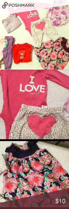 🎀👶🏻👶🏾Baby girl clothes 👶🏼👶🏽3M 3 months baby girl used clothes  Includes the following:  2: pants 3: onesies  1: dress 1: outfit   7 pieces total Dresses Casual