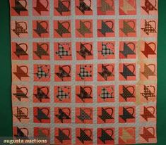 """Basket Quilt, marked 1890, 83"""" x 90"""", Augusta Auctions"""