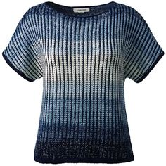 Lands' End Women's Petite Short Sleeve Dolman Sweater (£63) ❤ liked on Polyvore featuring tops, sweaters, blue, pullover sweater, loose pullover sweater, short sleeve pullover, petite tops and blue sweater
