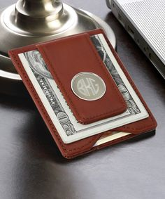 Personalized Brown Leather Wallet & Money Clip