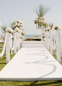 Beach wedding; nautical rope for the aisle