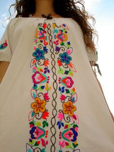 Vintage Hand Embroidered Mexican Flowers Maxi Dress 1960s 1970s