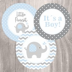 Baby shower printable centerpieces, blue and grey elephant baby boy centerp Baby Shower Azul, Fiesta Baby Shower, Baby Shower Favors, Baby Shower Parties, Baby Shower Themes, Baby Boy Shower, Shower Ideas, Elephant Baby Boy, Elephant Baby Showers