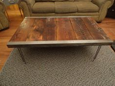 Industrial Coffee Table with raw steel trim and por MtHoodWoodWorks, $329.00