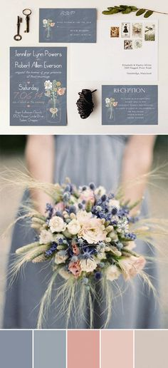 Soft color pallet with dusty blue and peach. Adorable wedding colors inspired by rustic wedding invitations