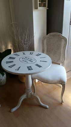 Clock face side table in Annie Sloan paint