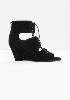 & Other Stories | Lace-Up Suede Wedge Sandals
