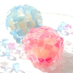 An early summer wagashi (Japanese traditional sweets) of 'hydrangea' motif, made from agar. ☆初夏の和菓子、紫陽花 (あじさい)