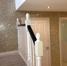 This is so happening in a room of mine!!! I love this glitter wallpaper