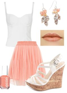 """""""Coral & White Summer Outfit 2013"""" by natz85 on Polyvore #coral #spring #summer #outfit #2013  minus the earring... and probably flats instead... and no nail polish or lipstick :-) but otherwise super cute"""