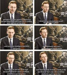 Tom Hiddleston talks about Benedict Cumberbatch.