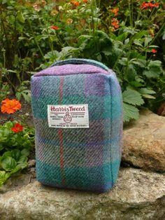 Harris Tweed Doorstop in purple and green check Harris Tweed