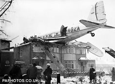 19 December 1946 – A Scottish Airways DC-3 G-AGZA crashed into houses on departure from RAF Northolt, Middlesex. There were no injuries amongst the five people on board, or the occupants of the houses. The pilot had taken off with wings contaminated by ice and snow.