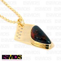 ISMOS Joyería: dije dorado con ámbar // ISMOS Jewelry: golden pendant with amber