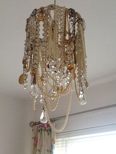 My vintage lampshade using my late mums jewellery