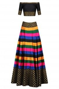 Multicolor and Black Striped and Sequinned Lehenga Set