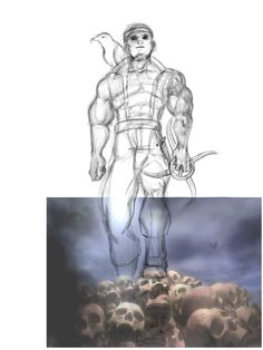Photo Design Layout (4): Main Character Dnd Concept: Changed the character pose so that Rayven Von Shadowfallen has a front-shot facing the sky.