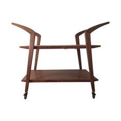 Image of Handmade Walnut & Brass Bar Cart $1000