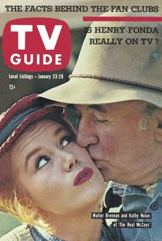 "TV Guide: January 23, 1960 - Walter Brennan and Kathy Nolan of ""The Real McCoys"""