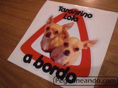 Pegatina de perritos a bordo, con la foto de tu mascota.