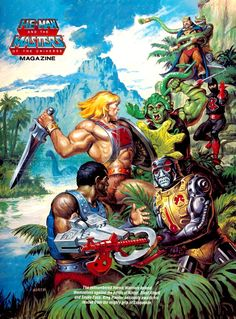 80s-90s-stuff:  better (hi-res) version of an 80s Masters of the Universe poster already posted. feat. Ninjor, He-Man, Sssqueeze, Snake Face...