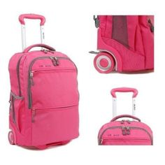 """Pink Rolling Backpack Girls Wheeled School Book Bag Laptop Carry On Tote 20"""" New #Large #Bookbag Womens Fashion Luggage Bag"""