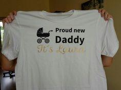 Tričko pre novopečeného otecka. Potlačené čiernym a zlatým flexom.