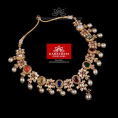 Traditional gold necklaces for women from the house of Kameswari. Shop for antique gold necklace, exquisite diamond necklace and more! Indian Wedding Jewelry, Bridal Jewelry, Pendant Jewelry, Gemstone Jewelry, Gold Jewelry, Gold Jewellery Design, Resin Jewellery, India Jewelry, Latest Jewellery