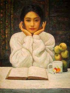 Joven leyendo, Di-Li Feng (China, 1958)