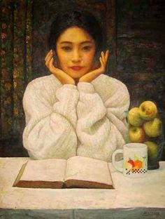 Moça lendo, 2000. Di-Li Feng (China, 1958)  Art, posters and prints of a woman or women reading repinned by www.AboutHarry.com