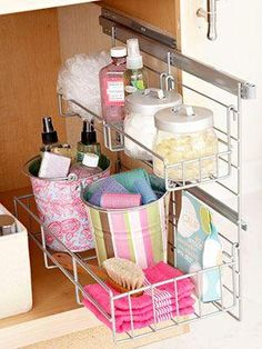 Put the space under your sink to work with simple add-ons and smart containers. Use our under-sink storage solutions to streamline your bathroom, kitchen, and mudroom. Small Bathroom Storage, Bathroom Organization, Organization Hacks, Storage Spaces, Organized Bathroom, Small Bathrooms, Organizing Ideas, Kitchen Storage, Narrow Bathroom