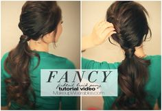 Half-braided, fancy ponytail tutorial | Cute hairstyle idea for long hair