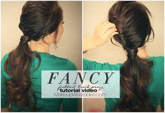 Half-braided, fancy ponytail tutorial | Cute hairstyle idea for long hair