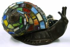 Vintage Mosaic Stained Glass Metal Snail Lamp