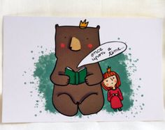 Card with king bear reading a fairytale to the little princess,children illustration,kids room decoration in brown. mint and pink