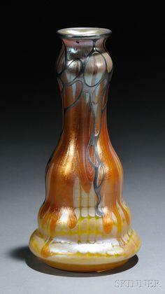 Loetz Vase  Art glass and metal overlay  Austria, c. 1903.