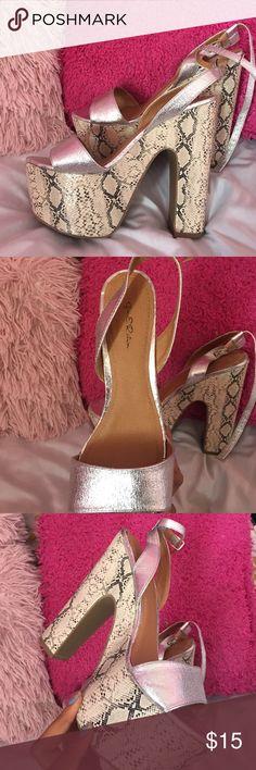 Silver Snake Platform Heels Super cute, worn once ! gen E Ration Shoes Platforms