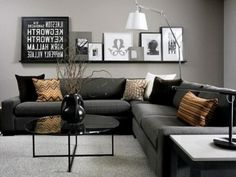 Simply Black And Dark Gray Living Room With Art Frame For Grey