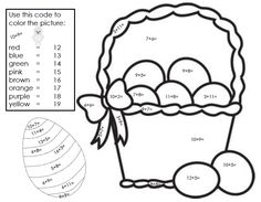 """FREE MATH LESSON - """"FREE Easter Color/Colour By Number"""" - Go to The Best of Teacher Entrepreneurs for this and hundreds of free lessons.  1st-2nd Grade   #FreeLesson   #Easter   http://www.thebestofteacherentrepreneurs.net/2014/04/free-math-lesson-free-easter.html"""