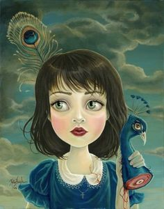 """is this woman directly ripping off Mark Ryden? I thought it looked eerily familiar. it seems like such a unique and deliberate style, how can you copy it without the inevitable comparison. you be the judge: http://www.markryden.com/paintings/index.html matthewb: Vanity from Vancouver-based artist Kelly Haigh's """"Blue"""" series of macabre paintings. (via Peter Nidzgorski)"""