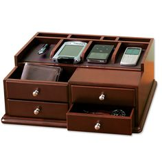 Handheld Electronics Organizer Drawers - Desktop Charging Station -- at Orvis! Charging Station Organizer, Docking Station, Charging Stations, First Fathers Day Gifts, Gifts For Dad, Desktop Organization, Storage Organization, Xbox One, Ideias Diy