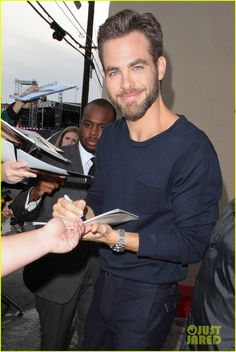 Chris Pine- those eyes that beard his smile.  Yum