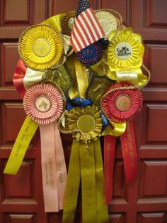 Vintage horse ribbons for front-door wreath for derby party. Older kids horse camp could make this with old ones! My Old Kentucky Home, Kentucky Derby, Horse Show Ribbons, Derby Horse, Run For The Roses, Horse Party, Horse Birthday, Horse Crafts, Derby Day