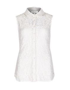 Ivory Floral Lace Sleeveless Shirt with Camisole